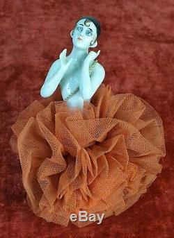 Sponge De Boudoir. Bust Of Woman Porcelain Painted By Hand. Circa 1920
