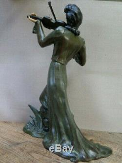 Statue Art Deco Chryselephantine Violinist Woman