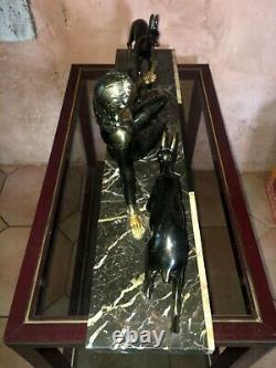 Statue Art Deco En Régule Femme Et Deches Signed Mr. Secondo C. 1920 Sculpture