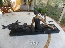 Statue Art Deco Woman Bird And Dog