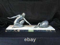 Statue Art Deco Woman Swan Regule Bronze Silver