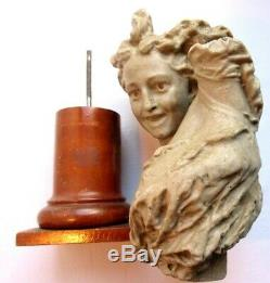 Statue, Gray Wax Sculpture, Female Nude Within Pedestal Wooden Column