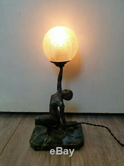 Statue Lamp Woman Dancer Art Deco Iron And Marble Dart 1930