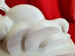 Statue Lejan Art Deco 1930s Ceramic Cracked Woman With Her Juniper