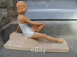 Statue Old Woman Sculpture Art Deco Signed In 1930 XX