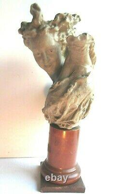 Statue, Sculpture In Grey Wax, Female Naked Breast On Wooden Column Base