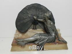 Statue Sculpture Woman Art Deco 1930 Sportive Paon Marble Base