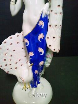 Statue Woman At Peacock Art Deco Porcelaine Sign Height 30 CM