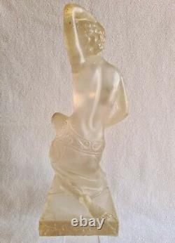 Statue Woman Dancer Denuded Art-deco 1930 Former Cast In Résin Xxème H 35