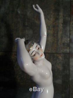 Statue Woman Nude Dancer Dressel & Kister Art Deco Sculpture Porcelain