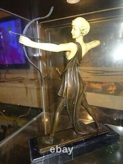 Statuette Chrys Elephantine Art Deco Woman With The Arch