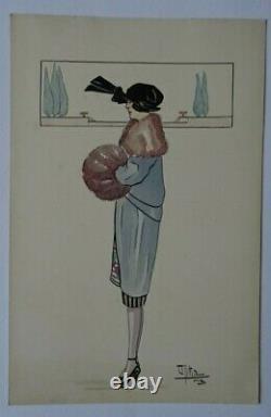 Stunning Original Watercolor Art Decorative Fashion Woman Date 1919