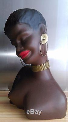 Sublime Bust Woman Créole In Ceramic Vintage 1950's Design Africanist