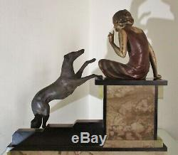 Superb Great Statue Sculpture Art Deco Young Woman And Her Dog In 1925