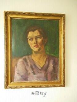 Superb Large Portrait Of Woman #art Deco #. Oil On Canvas Laid