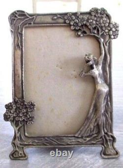 Superb Old Large Frame Photo Holder Art Deco Naked Woman 1930 Punched
