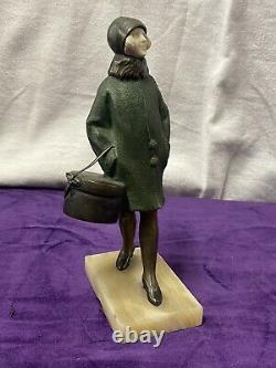 Suzanne Bertrand Sculpture Bronze Chrys Elephant Woman Elegant Art Deco 1930