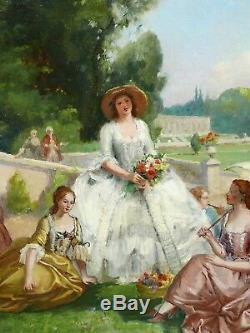 Table Gallant Scene Henry Victor Lesur Elegant Women Park Castle Landscape