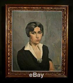 Table Hst Old Female Portrait Boyish Signed Diener Art Deco 1930