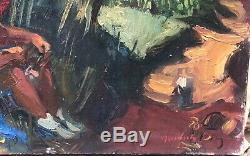 Table Oil Canvas Young Woman Landscape Tree Jean Aujame (1905-1965)