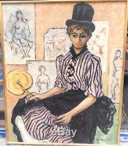 Table Old Oil Portrait Young Female Fan Daniel Vacher (1923-2014)