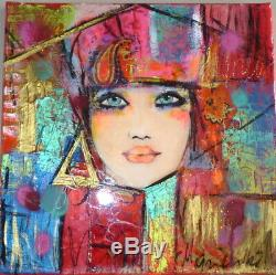 Table Painter Marienkoff-portrait Woman 30 X 30 CM