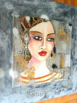 Table Painter Marienkoff-portrait Woman Bohemian-30 X 30 CM