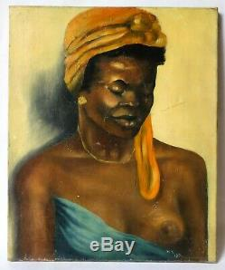 Table Painting Old Oil Signed, Portrait, Female, African Nude