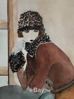 Table Watercolor Women In A 1930 Art Deco Interior Martine