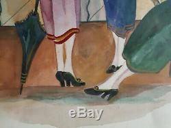 Table Watercolor Women Sunshades 1930 Art Deco Martine