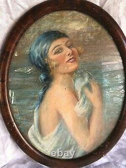 Tableau Pastel Woman 1900 Art Deco