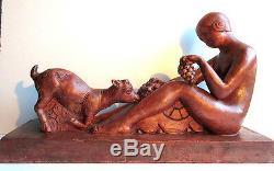 Terracotta Sculpture Art Deco Signed Mazeaud Female Goat And Terrace