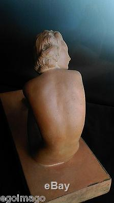Ugo Cipriani (1887-1960) Sculpture Woman Naked In Terracotta Art Deco