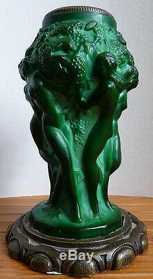Vase Art Deco By Heinrich Hoffmann (1875-1939) Bohemian Candlestick Woman Nude
