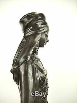 Veiled Woman Down The Stairs Large Sculpture Orientalist 52 CM 5.5 KG