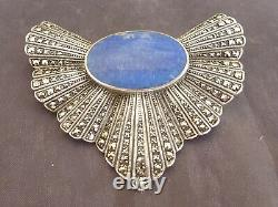 Very Beautiful And Ancient Art Deco Brooch For Silver Woman Lapi Lazuli Marcassites