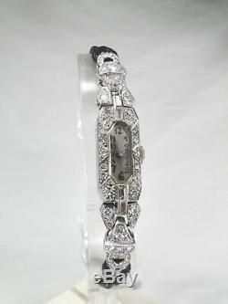 Very Beautiful Art Deco Lusina Platinum And Diamonds Brilliant Sticks 1925