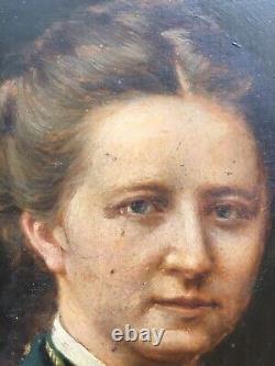 Very Beautiful Painting On Photo Oil On Panel Portrait Woman XIX Monsabert
