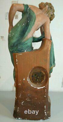 Very Large And Beautiful Pendulum-status Plaster. Woman Painter. Art Deco
