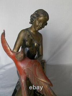 Very Large Sculpture Art Deco 1930 Limousin 61cm X 46cm Woman & Bird Statue