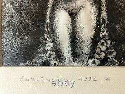 Very Pretty Nude Woman Drawing Art Deco 1931 Edith Desternes Charcoal