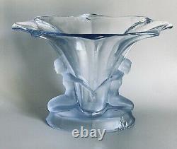 Walther & Sohne Vase Art Deco ́windsor ́ Blue 1930 2 Naked Women Germany
