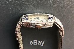 Watch Art Deco Woman Solid Gold 18k Diamonds And Sapphires