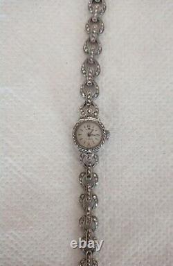 Watch Bucherer Silver Massif 1923 Art Deco Function Excellent 187 Marcassite