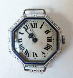 Watch Woman Silver + Solid Silver Enamel Enamel Watch Art Deco 1925