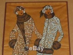Watercolor Art Deco Mode Elegant Women In Furs. Gender Icart Kirchner