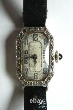 White Gold Women's Watch - Mechanical Diamonds Art Deco Gold Watch Diamonds