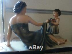 Women And Child Art Deco Signed, Numbered From Ugo Cipriani L 52 CM