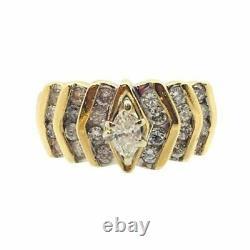 Women's Old Gold Yellow Ring 18 K Diamond Vintage Ring