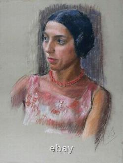 Young Woman With Circa Necklace 1930 Pastel 65 X 50 CM Art Deco Monogram Mode